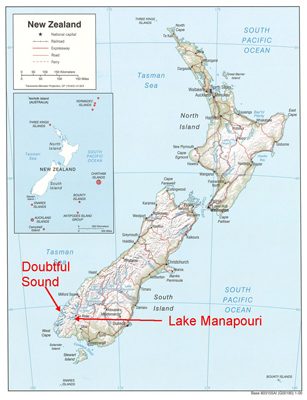 Map of New Zealand pointing to Doubtful Sound